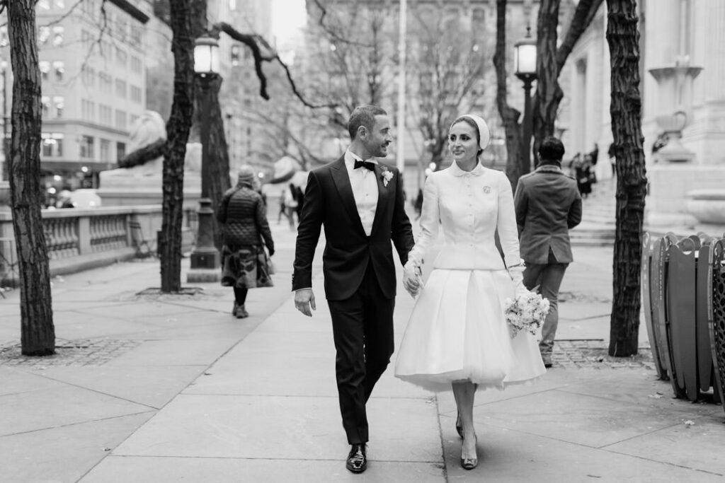 stylish new york city nyc elopement wedding photos