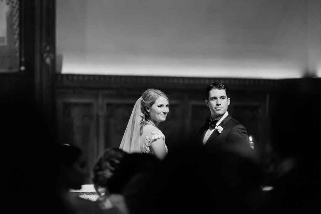 bride and groom at church wedding ceremony
